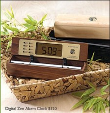 Digital Zen Alarm Clocks, available in maple, walnut, bamboo, and black lacquer
