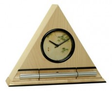 Zen Alarm Clock in Maple Finish, Japanese Leaves Dial Face