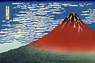 Red Fuji Ukiyo-e Print by Hokusai's series: Thirty-six Views of Mount Fuji