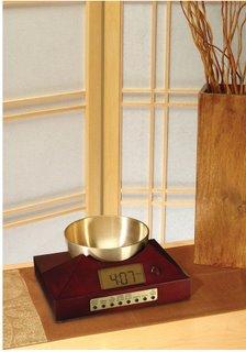 Zen Timepiece in Cherry Finish with Tibetan Bowl Alarm Clock