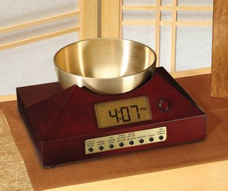 Tibetan Bowl Clock with brass bowl/gong , a perfect yoga timer with gentle gong