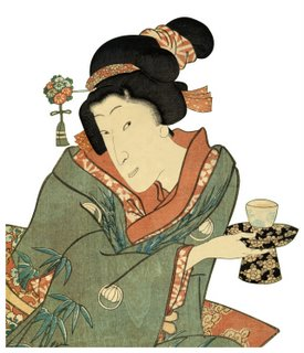 ukiyo-e woodblock print:  traditional tea ceremony in kimono by master Utagawa Toyokuni