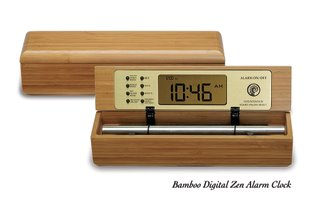 Bamboo Digital Chime Clock, a calming timer and alarm clock made from natural materials like bamboo, walnut, and maple