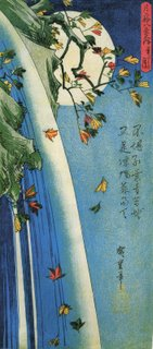 Hiroshige, The Moon Over A Waterfall - woodblock print