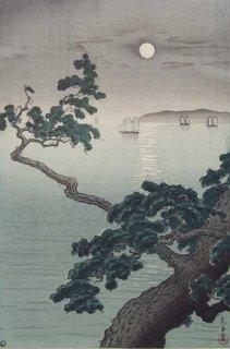 "Koitsu, ""Full Moon at Akashi Beach"" Ukiyo-e Woodblock Print"