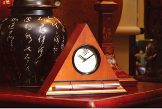 Kanji Dial Face in Honey Finish, Zen Alarm Clocks with a progressive chime