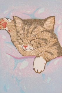 Sanmonji, Sleeping Cat 1992, woodblock print
