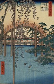 Kamedo Tenjin Shrine: drum bridge in the garden, Hiroshige ukiyo-e
