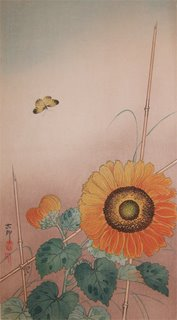 Koson, Small Butterfly And Sunflower -  woodblock print