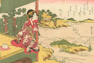 zen garden from tea house, Eizan (1787-1867), Noda River Ukiyo-e