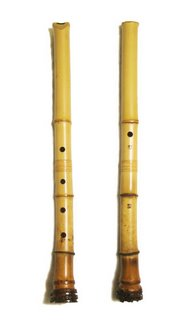 A shakuhachi flute, traditionally made of bamboo