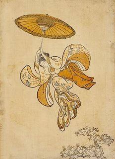 Harunobu Ukiyo-e Print, Girl Parachuting Into the Branches of a Flowering Cherry