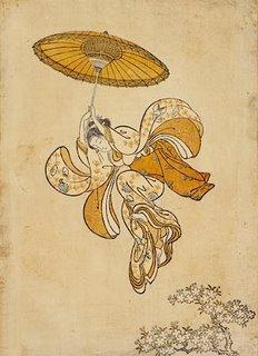 Harunobu Ukiyo-e Print, Girl Parachuting Into the Branches of a Flowering Cherry