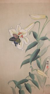 Butterfly on Large Light Yellow Lilly, Kosan 1912