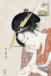 Utamaro Kitagawa, The Courtesan Hanaogi of Ogiya, Ukiyo-e Woodblock Print