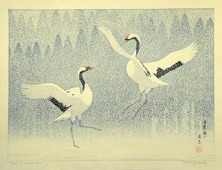 Sousaku Hanga woodblock print by Yoshida Toshi, ca. 1970