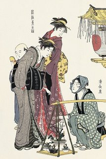 Kiyonaga Torii, Beauties Listening to Bonsai Vendor Ukiyo-e Woodblock Print