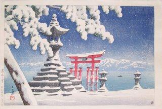 Snow at Itsukushima by Watanabe Shozaburo