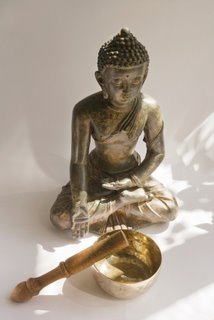 Carved Wooden Thai Buddha with Singing Bowl