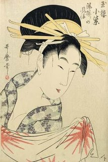 Choose a Soothing Alarm Clock - Kitagawa Utamaro, Komuraski of the Tamaya, House After a Bath, 1795