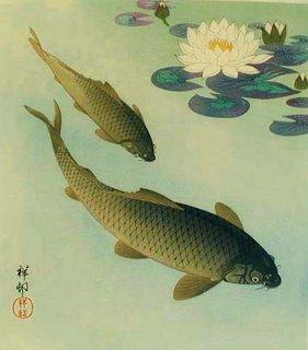 Ohara Koson (Shoson). 1877-1945 two carp and white lotus 1933