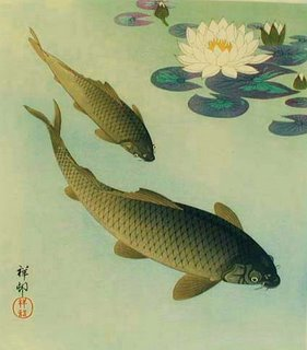 Breathing Exercise for Relaxation:  Ohara Koson (Shoson). 1877-1945 two carp and white lotus 1933