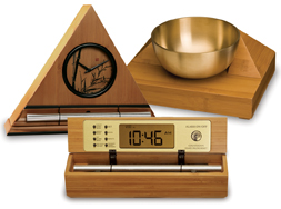 It's exquisite sounds summon your consciousness out of your meditative state with a series of subtle gongs. Once you experience the Zen Timepiece's progressive tones, you'll never want to meditate  any other way.  It serves as the perfect meditation timer. Available in 5 wood styles, including bamboo.