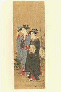 Dos damas paseando - artista Shunshô Katsukawa
