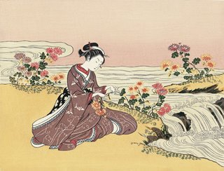How Do We Find Balance in Life - Harunobu Suzuki, A girl Collecting Chrysanthemum Dem by the Stream
